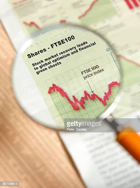Shares FTSA 100 under magnifying glass.