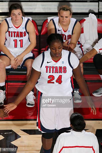 Shareta Brown of the Detroit Titans is introduced before the game against the South Alabama Jaguars at The Matadome on November 24 2012 in Northridge...