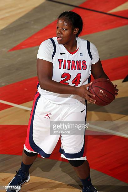 Shareta Brown of the Detroit Titans looks to play the ball against the South Alabama Jaguars at The Matadome on November 24 2012 in Northridge...