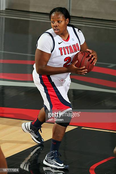 Shareta Brown of the Detroit Titans rebounds against the South Alabama Jaguars at The Matadome on November 24 2012 in Northridge California South...