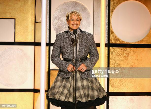 Shari Belafonte speaks onstage during AARP The Magazine's 17th Annual Movies For Grownups Awards at the Beverly Wilshire Four Seasons Hotel on...