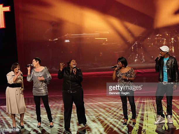 """Shari, Emily, Crystal, Tasha Jermaine the finalists of BET's """"Sunday Best"""" perform live at the BET Upfronts, at the Hamerstein Ballroom, April 17 New..."""