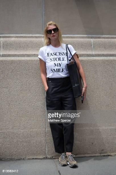 Shari Gab is seen attending Deveaux at EN Japanese Brasserie during Men's New York Fashion Week wearing a statement tshirt on July 12 2017 in New...