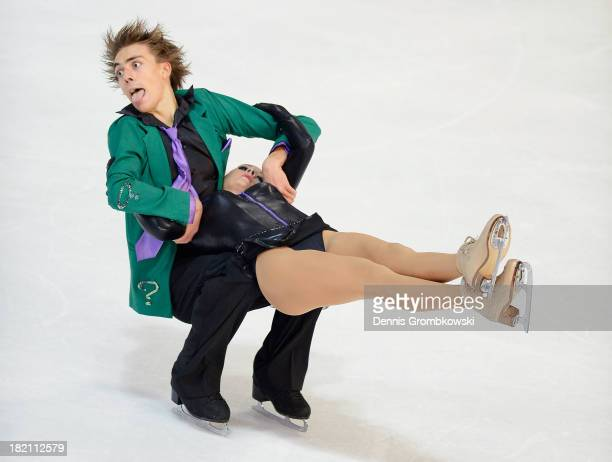 Shari Koch and Christian Nuechtern of Germany compete in the Ice Dance Free Dance competition during day three of the ISU Nebelhorn Trophy at...