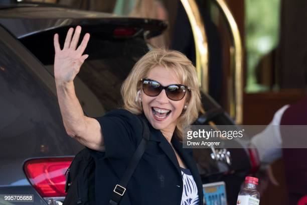 Shari Redstone president of National Amusements and vice chairwoman of CBS Corporation arrives at the Sun Valley Resort for the annual Allen Company...