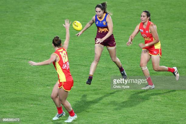 Shari Webb of the Lions kicks during the AFLW Winter Series match between the Gold Coast Suns and the Brisbane Lions at Metricon Stadium on July 14...