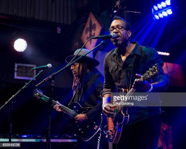 Sharief Hobley and Claude Coleman Jr of Amandla perform at Tipitina's on February 1 2017 in New Orleans Louisiana