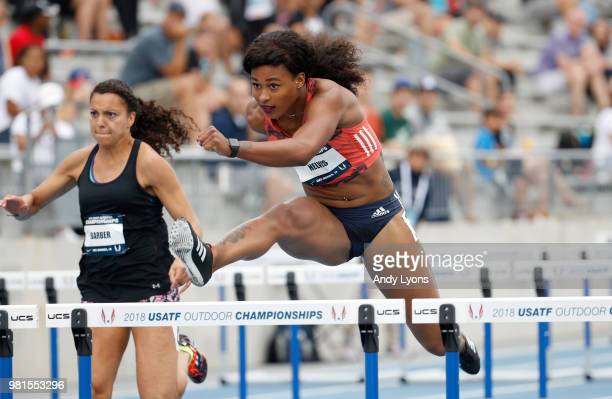Sharika Nelvis clears a hurdle in the Womens 100 Meter Hurdles during day 2 of the 2018 USATF Outdoor Championships at Drake Stadium on June 22 2018...