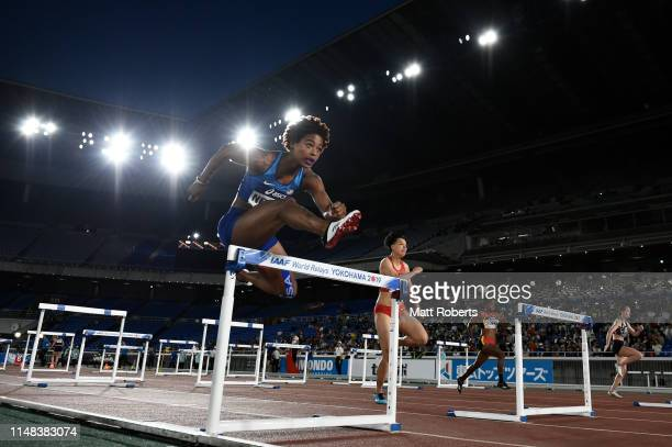 Sharika Nelvis of USA competes in the Mixed Shuttle Hurdles Relay heats during day one of the IAAF World Relays at Nissan Stadium on May 11, 2019 in...