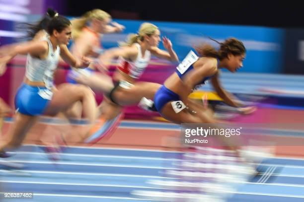 Sharika Nelvis ofUnited States at 60 meter hurdles at World indoor Athletics Championship 2018, Birmingham, England on March 2, 2018.