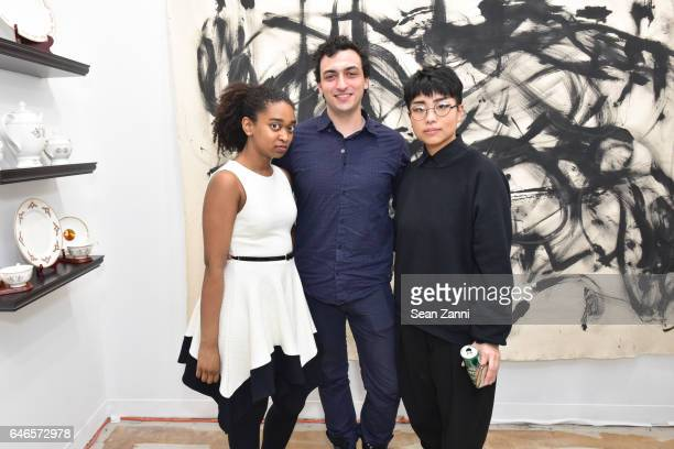 Sharina Gordon YvesOlivier Mandereau and Kat JK Lee attend Spring Break Art Fair 2017 Vernissage at 4 Times Square on February 28 2017 in New York...