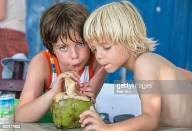 Sharing coconut water, Monkey Beach Penang, Malaesya