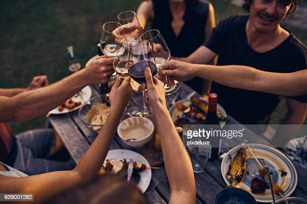 Sharing good food and wine with friends