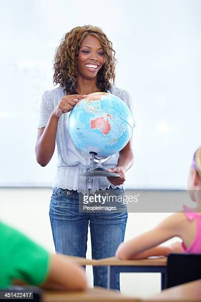 Sharing her love of geography with the class
