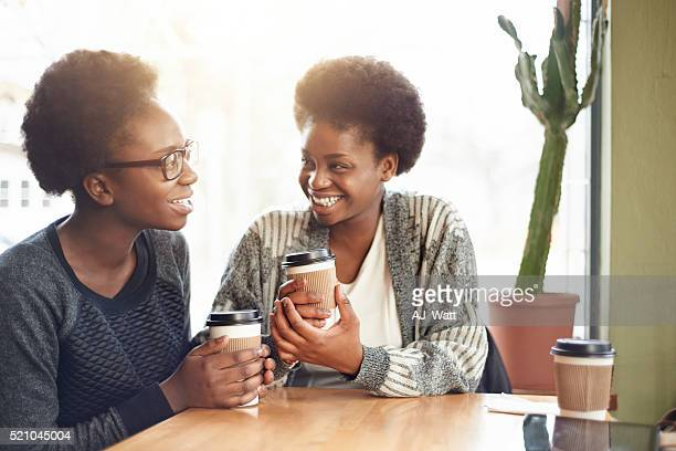 Sharing laughs over coffee