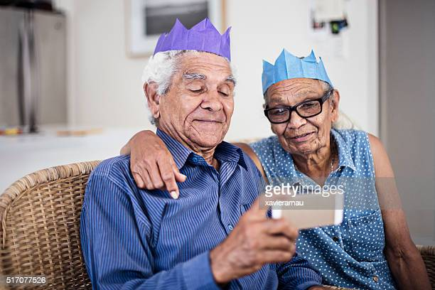 Sharing moments on the mobile phone for Christmas