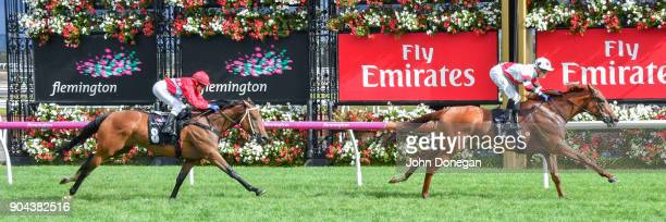 Sharing ridden by Ben Allen wins the Tauto Handicap at Flemington Racecourse on January 13 2018 in Flemington Australia
