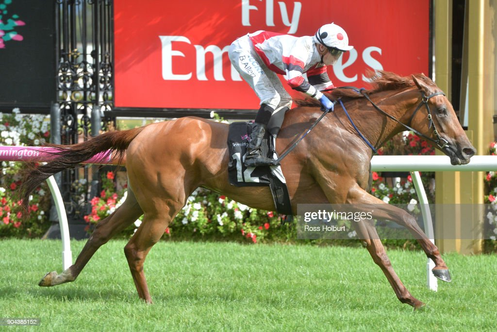 Sharing ridden by Ben Allen wins the Tauto Handicap at Flemington Racecourse on January 13, 2018 in Flemington, Australia.