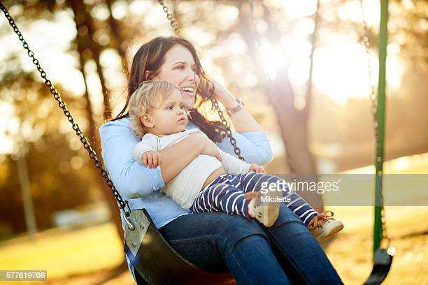 Sharing smiles on the swing