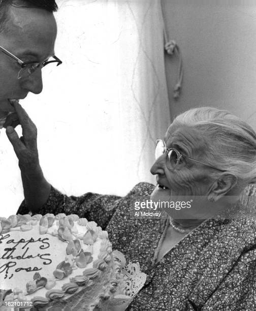SEP 15 1958 SEP 15 1959 OCT 3 1965 Sharing the Honors Mrs Kathy Rose who celebrated her 92nd birthday Tuesday gives a taste of her giant birthday...