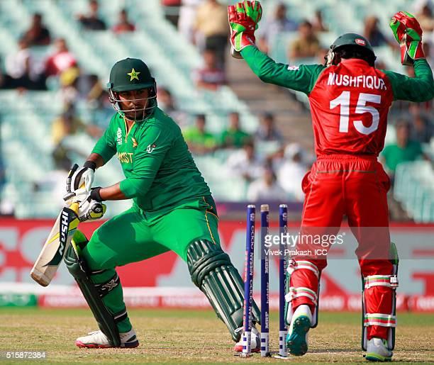 Sharjeel Khan of Pakistan is bowled by Arafat Sunny of Bangladesh during the ICC World Twenty20 India 2016 match betweenPakistan and Bangladesh at...