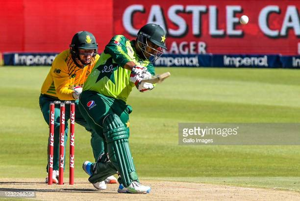 Sharjeel Khan of Pakistan takes a strike that gets caught by Aiden Markram of South Africa during the 2nd KFC T20 International match between South...