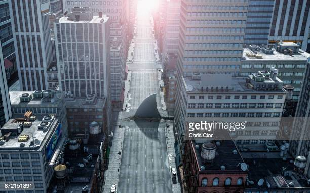 shark fin swimming in intersection of city streets - shark fin stock photos and pictures