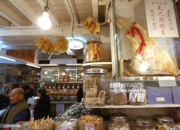 Shark fins on display at the dry seafood store at Western District 04JAN13