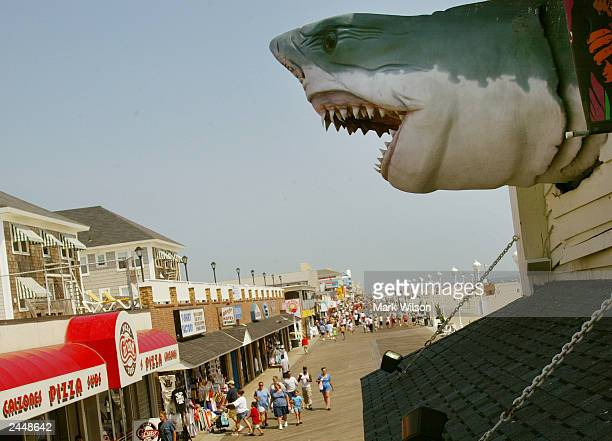 A shark model hangs from a building over top the boardwalk August 30 2003 in Ocean City Maryland The Labor Day weekend marks the unofficial end of...