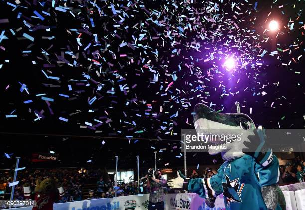 Shark of the San Jose Sharks enters the rink during the NHL Mascot Showdown at San Jose McEnery Convention Center on January 27 2019 in San Jose...