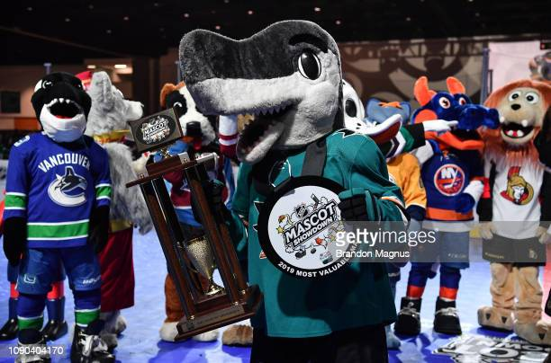 Shark of the San Jose Sharks poses with the trophy after winning the NHL Mascot Showdown at San Jose McEnery Convention Center on January 27 2019 in...