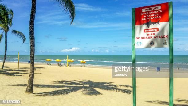 Hai-Warnschild am Strand von Boa Viagem in Recife, Brasilien