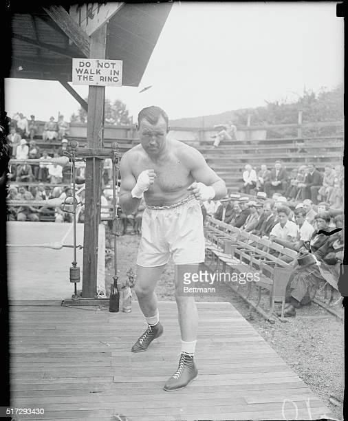 Sharkey Trains for Carnera Bout Ready for action is Jack Sharkey heavyweight champion shown at his training camp at Orangeburg NY where he is getting...