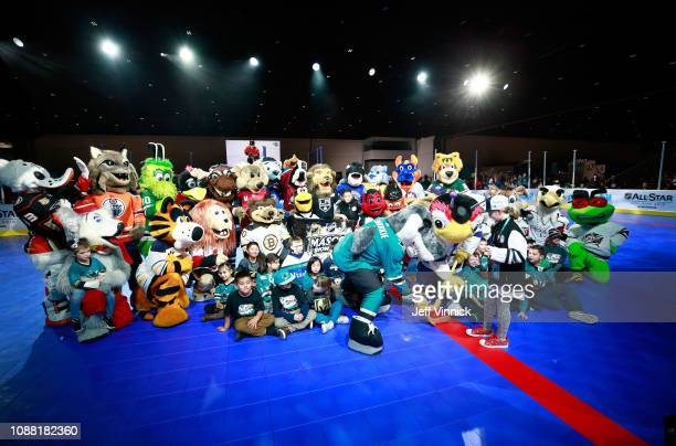 Sharkie of the San Jose Sharks and Thunderbug of the Tampa Bay Lightning take a faceoff during the 2019 NHL AllStar Mascot Showdown on January 24...