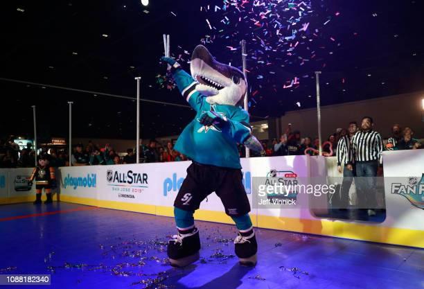 Sharkie of the San Jose Sharks participates in the 2019 NHL AllStar Mascot Showdown on January 24 2019 in San Jose California