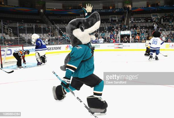 Sharkie of the San Jose Sharks participates in the the 2019 NHL AllStar Mascot Showdown at the SAP Center on January 24 2019 in San Jose California