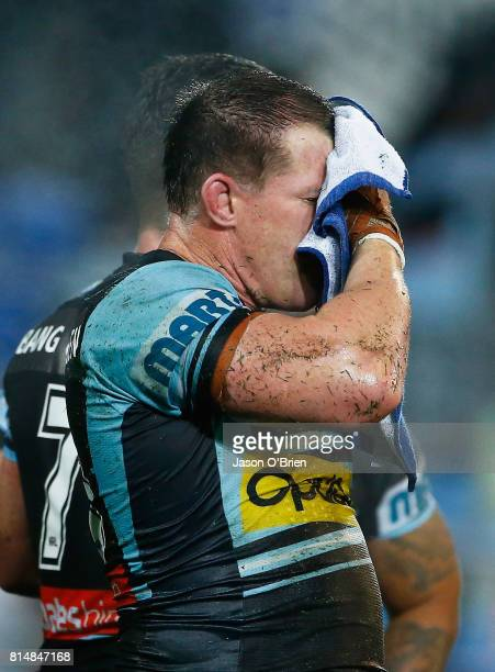 Sharks captain Paul Gallen looks dejected during the round 19 NRL match between the Gold Coast Titans and the Cronulla Sharks at Cbus Super Stadium...