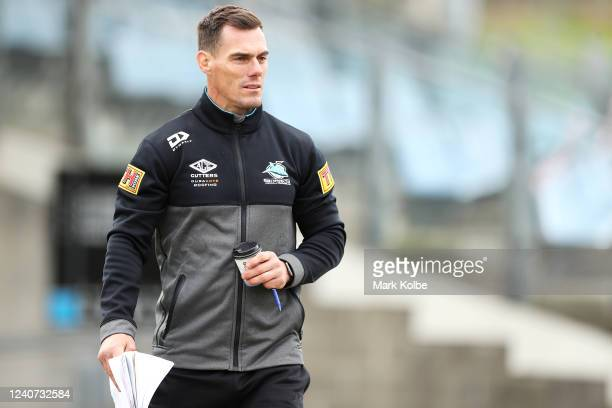 Sharks coach John Morris watches on during a Cronulla Sharks NRL training session at PointsBet Stadium on June 02, 2020 in Sydney, Australia.