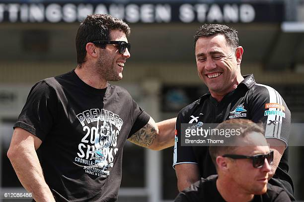 Sharks coach Shane Flanagan and Michael Ennis of the Sharks share a joke during the Cronulla Sharks NRL Grand Final celebrations at Southern Cross...