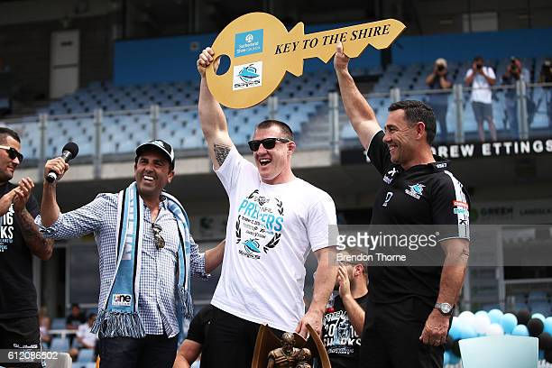 Sharks coach Shane Flanagan and Paul Gallen of the Sharks receive keys to the Shire during the Cronulla Sharks NRL Grand Final celebrations at...