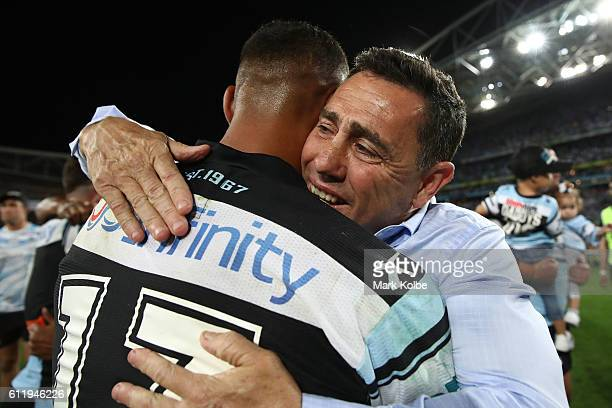Sharks coach Shane Flanagan celebrates after winning the 2016 NRL Grand Final match between the Cronulla Sharks and the Melbourne Storm at ANZ...