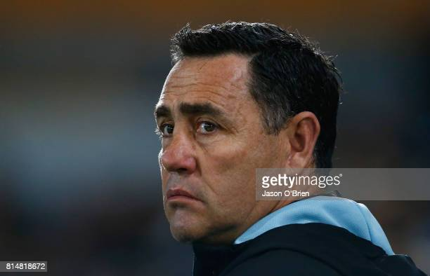 Sharks Coach Shane Flanagan is seen during the round 19 NRL match between the Gold Coast Titans and the Cronulla Sharks at Cbus Super Stadium on July...
