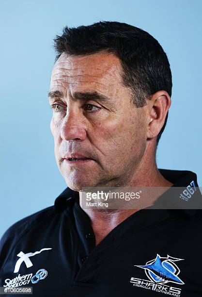 Sharks coach Shane Flanagan speaks to the media during a Cronulla Sharks NRL media session at Southern Cross Group Stadium on September 27 2016 in...