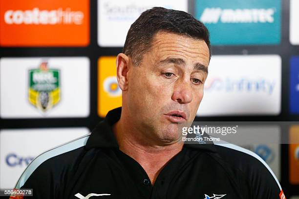 Sharks Coach Shane Flanagan speaks to the press following the round 22 NRL match between the Cronulla Sharks and the Canberra Raiders at Shark Park...