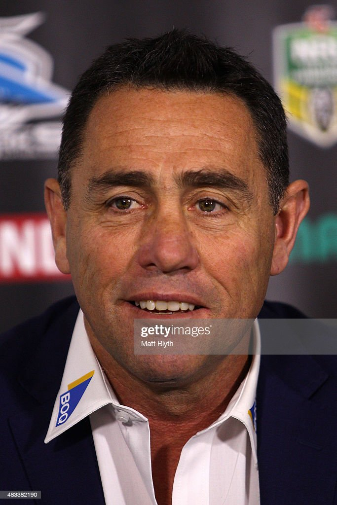 Sharks coach Shane Flanagan talks to the media at a press conference following the round 22 NRL match between the Cronulla Sharks and the North Queensland Cowboys at Remondis Stadium on August 8, 2015 in Sydney, Australia.