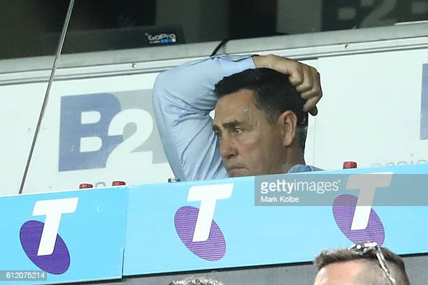 Sharks coach Shane Flanagan watches the 2016 NRL Grand Final match between the Cronulla Sharks and the Melbourne Storm at ANZ Stadium on October 2...