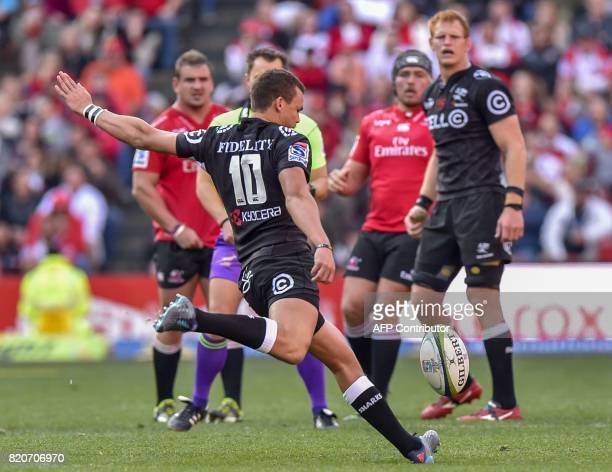 Sharks' Curwin Bosch delivers an unsuccessful drop kick during the Super Rugby quarterfinal match between Lions and Sharks at the Ellis Park rugby...