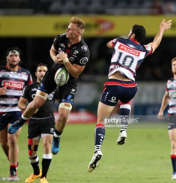 Sharks' Daniel du Preez and Rebels Jack Debreczeni fight for the ball during the Super XV rugby union match between Sharks and Rebels at Kingspark...