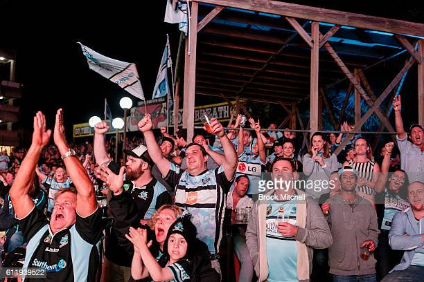Sharks fans at Southern Cross Group Stadium watch the 2016 NRL Grand Final on October 2 2016 in Sydney Australia