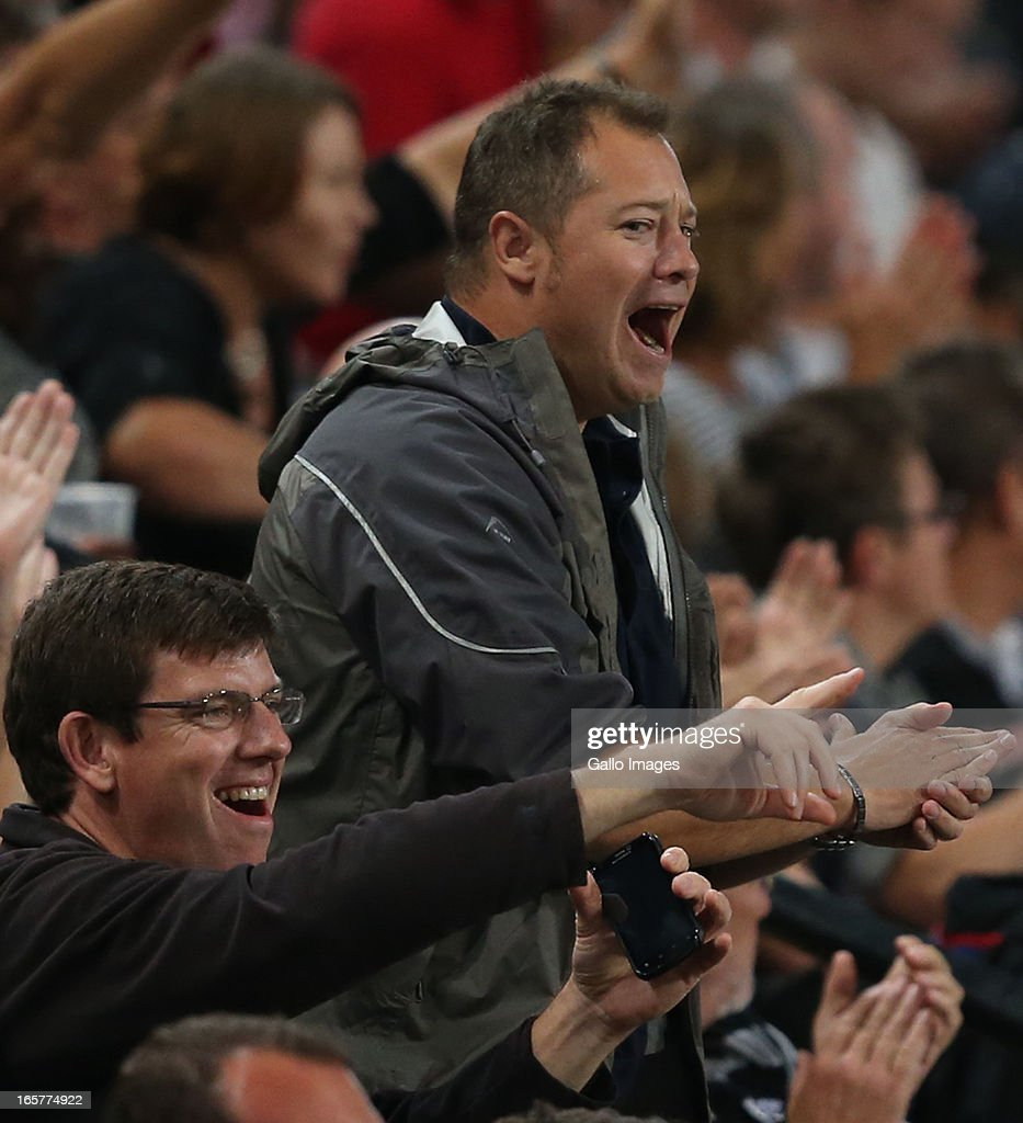 Sharks fans react after a win during the Super Rugby match between The Sharks and Crusaders at Kings Park on April 05, 2013 in Durban, South Africa.